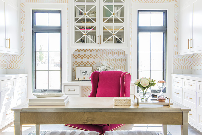 Home office, Homeward Design, Gatehouse No. 1, Stephanie Holdaway, Chelsea Kasch, Mike Deuel, Shelby Custom Homes, Mountain Crest Cabinet, Wallpaper Mamas, Rebekah Westover