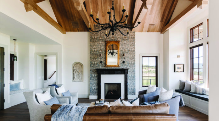 Heber Valley home, Wood planked ceiling, Great room, Fireplace, William Morris wallpaper