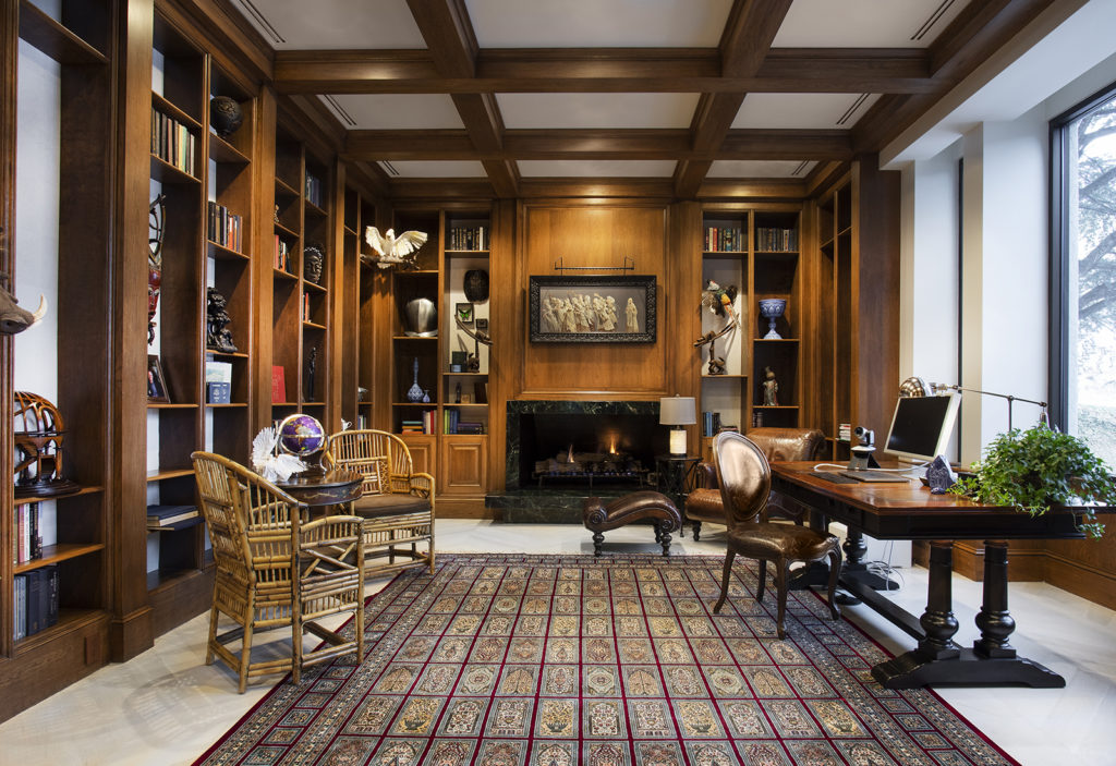 Rich wood home library/office.