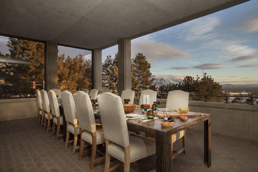 Skaggs Mansion, Outdoor dining space, view of the Wasatch Mountain Range
