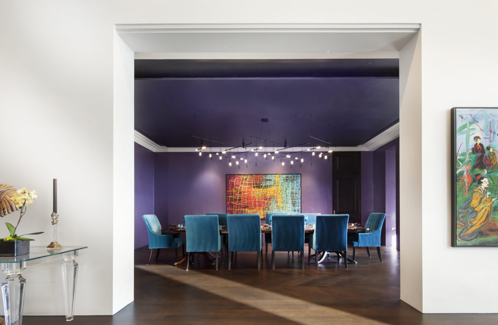 Skaggs Mansion, Eggplant dining room with blue accent chairs.