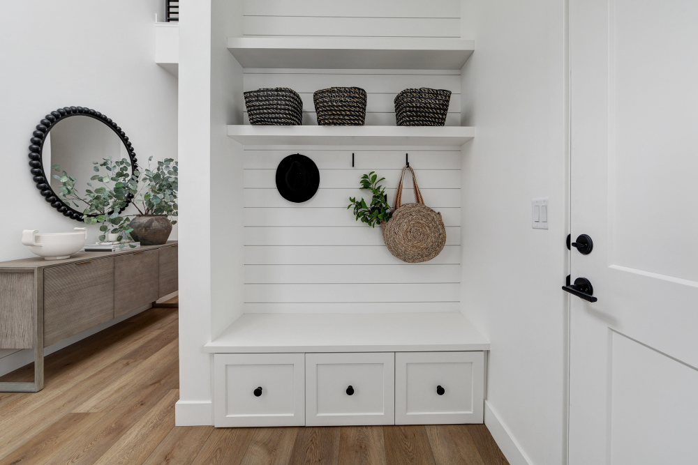 Mudroom with black accents at the 2021 St. George Area Parade of Homes