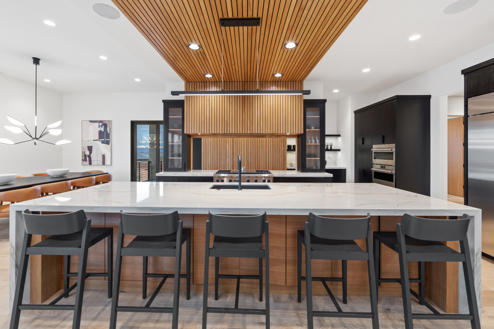 Wall-to-ceiling wood slatting at the 2021 St. George Area Parade of Homes