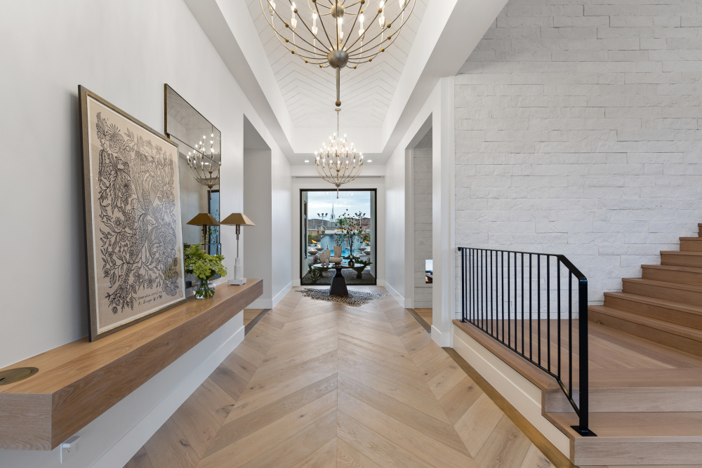 Herringbone floor and ceiling entry at the 2021 St. George Area Parade of Homes
