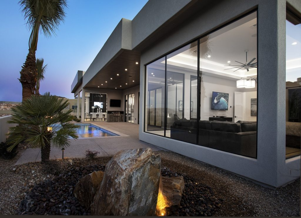 Glass office den, Outdoor pool and spa