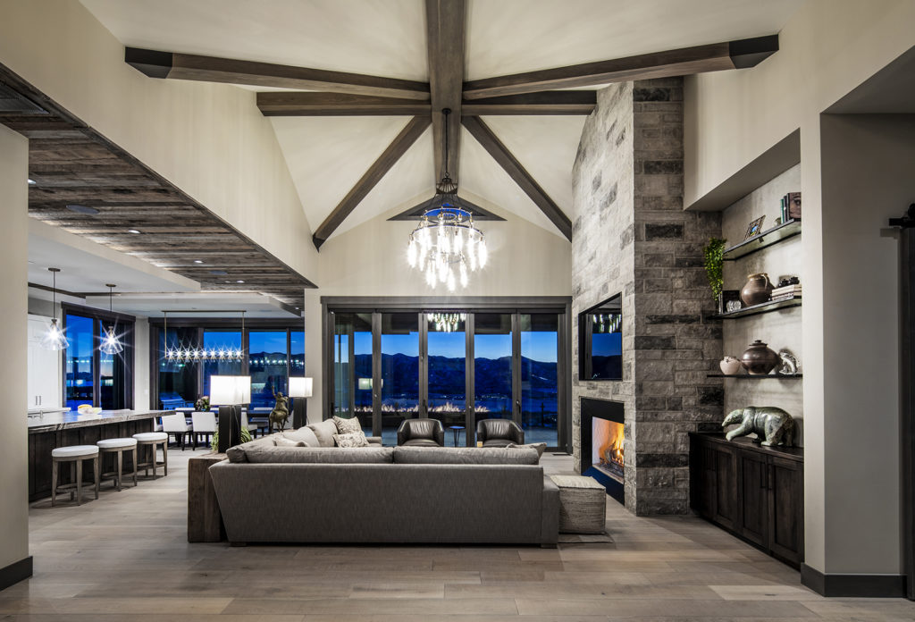 Otto-Walker Architects, Upland Development, Park City, reclaimed beams, crystal chandeliers, glass shelving, open living, neutral color scheme