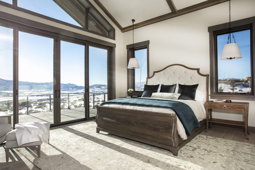 Otto-Walker Architects, Upland Development, master bedroom, window wall, glass patio railings, dark wood trim, forest green accents, Park City