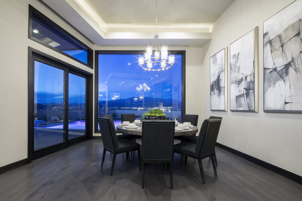 Large windows to the dining room offer a view of the Southern Utah landscape.
