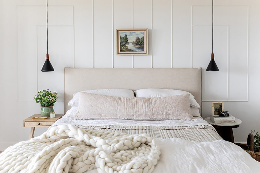 Devine house, Lindsay Salazar, House of Jade Interiors, master bedroom, neutral palette, bold textures, natural materials, clean-lined pencil molding