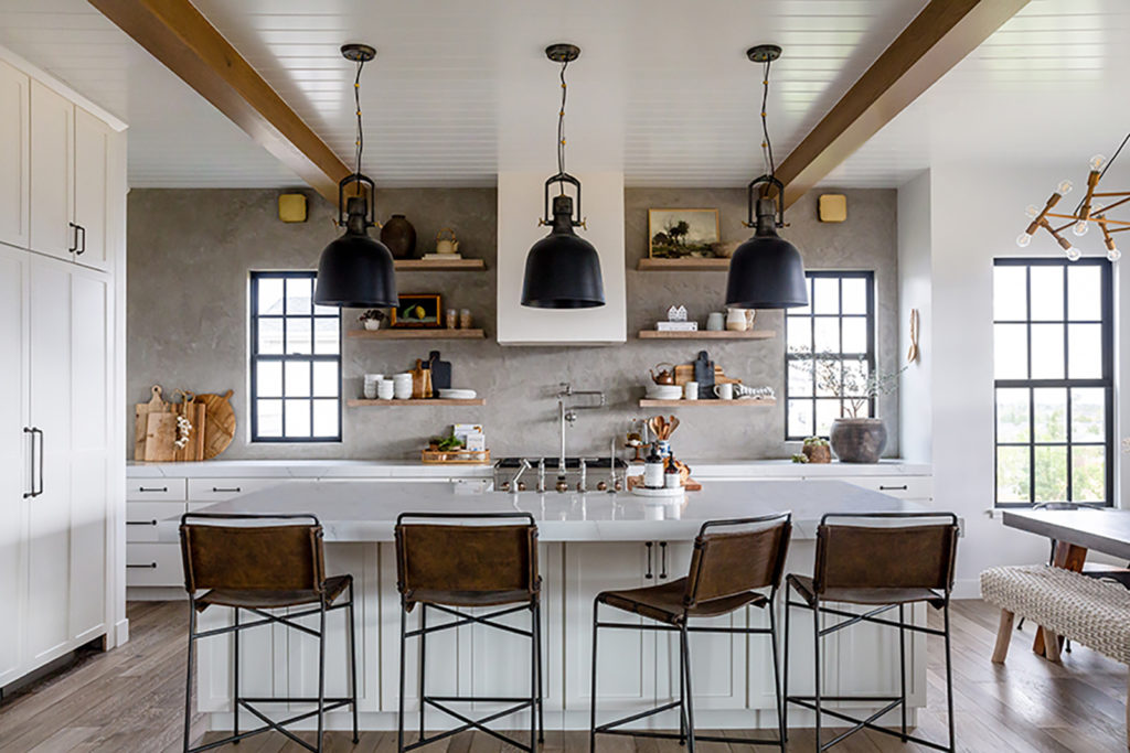Lindsay Salazar, Devine house, House of Jade Interiors, kitchen, concrete plaster wall, white cabinetry, open shelves, Montclair White quartz